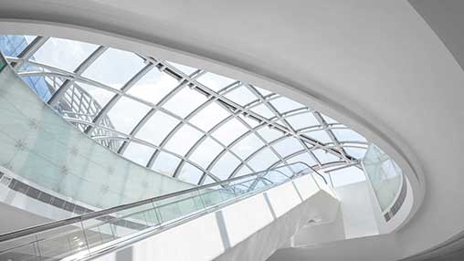 indoor escalators and skylight