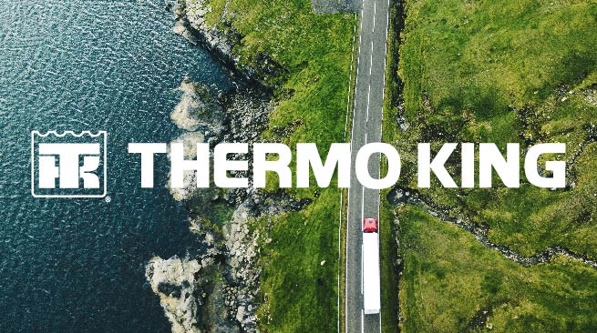 aeriel view of coastline with overylay of Thermo King logo