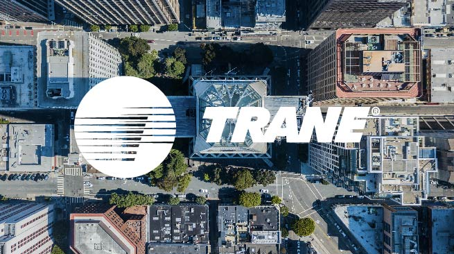aeriel view of buildings with overylay of Trane logo