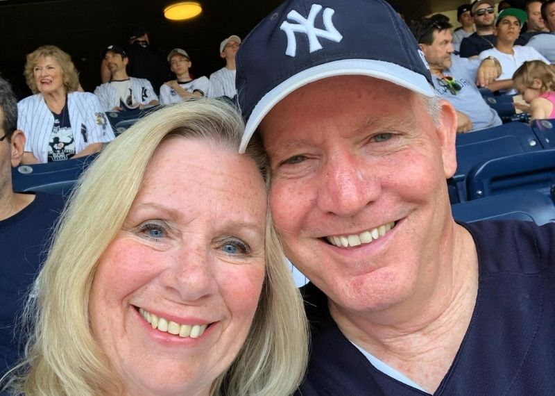 Bill and his wife, Joyce, at a Yankees baseball game in 2019.