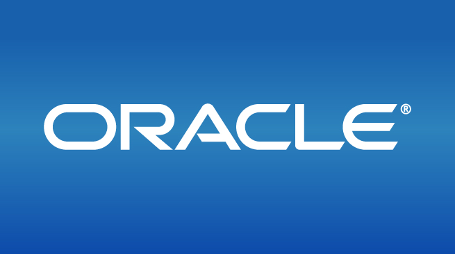 Oracle logo on blue background