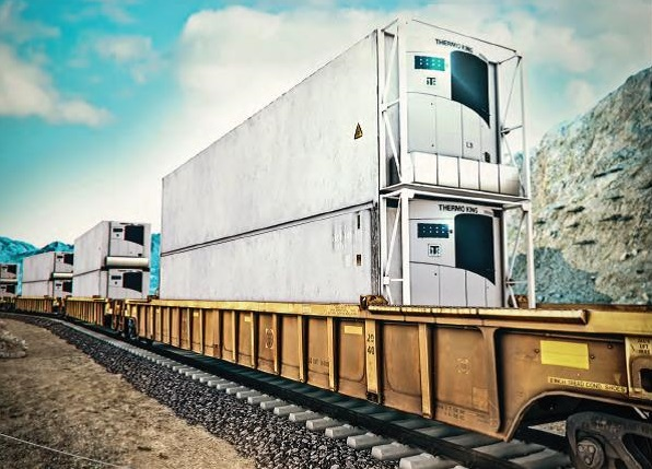 image of Thermo King transports on a train