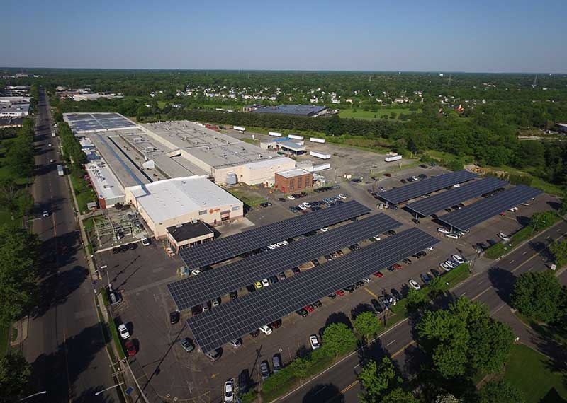 Overhead view of the New Jersey manufacturing plant and its solar panels