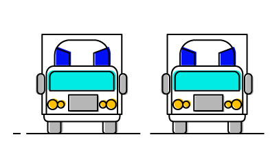 iconic drawing of two transport trucks